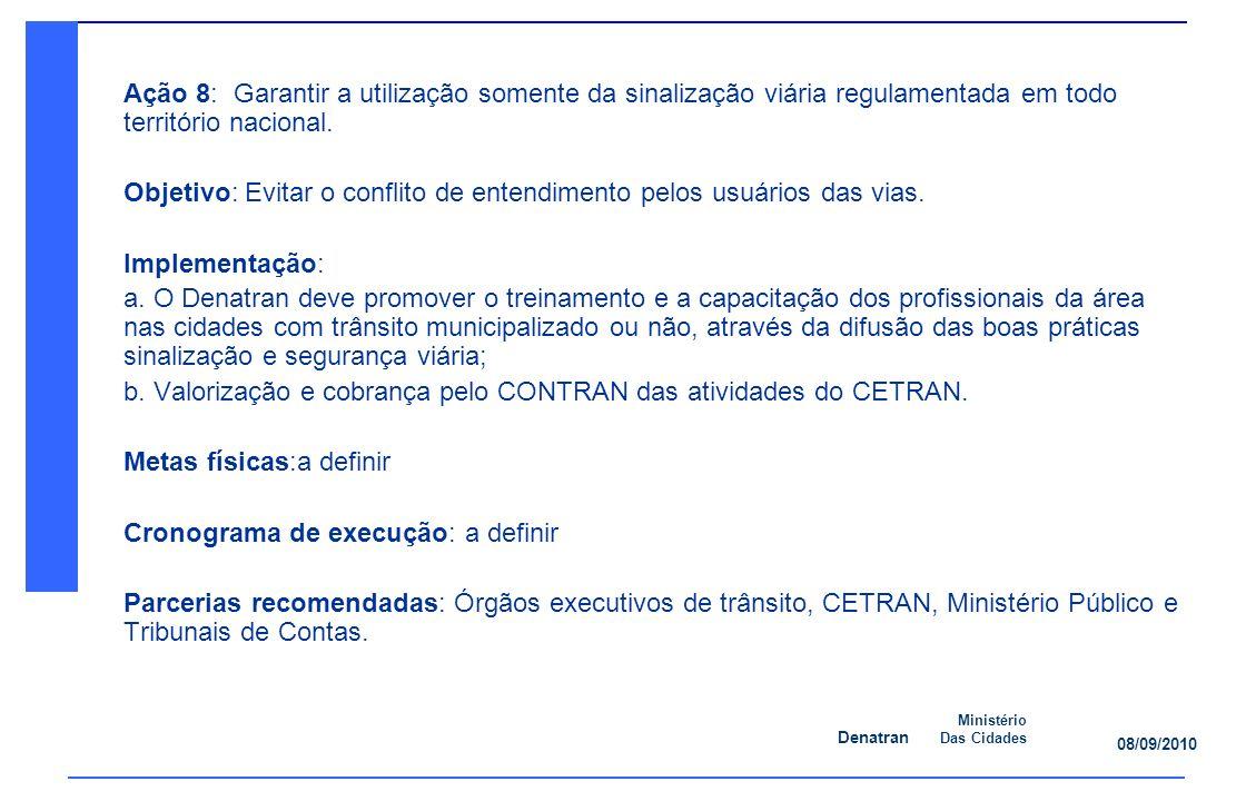 Denatran Ministério Das Cidades 08/09/2010 Ação 8: Garantir a utilização somente da sinalização viária regulamentada em todo território nacional.