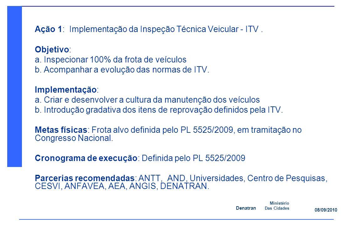 Denatran Ministério Das Cidades 08/09/2010 Ação 1: Implementação da Inspeção Técnica Veicular - ITV.
