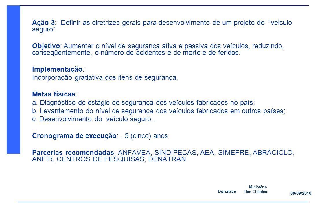 Denatran Ministério Das Cidades 08/09/2010 Ação 3: Definir as diretrizes gerais para desenvolvimento de um projeto de veiculo seguro.