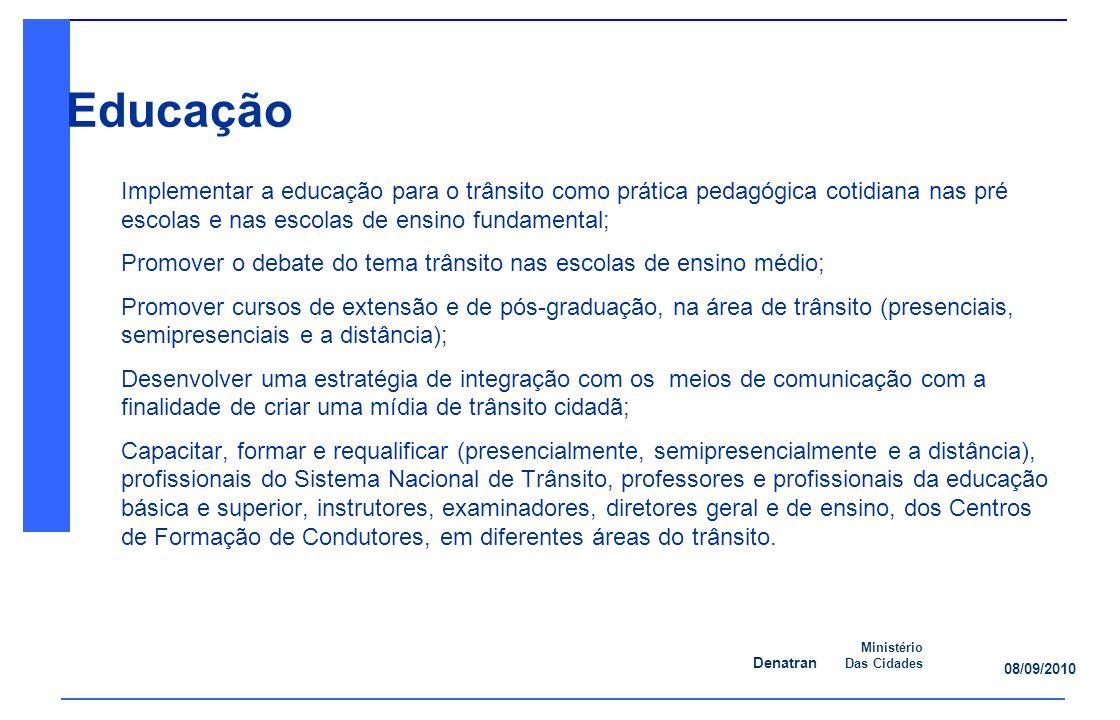 Denatran Ministério Das Cidades 08/09/2010 Ação 8: Promover cursos de extensão e de pós-graduação (presenciais, semipresenciais e a distância).