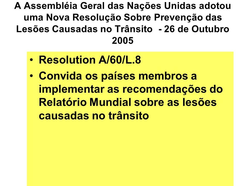 A Assembléia Geral das Nações Unidas adotou uma Nova Resolução Sobre Prevenção das Lesões Causadas no Trânsito - 26 de Outubro 2005 Resolution A/60/L.