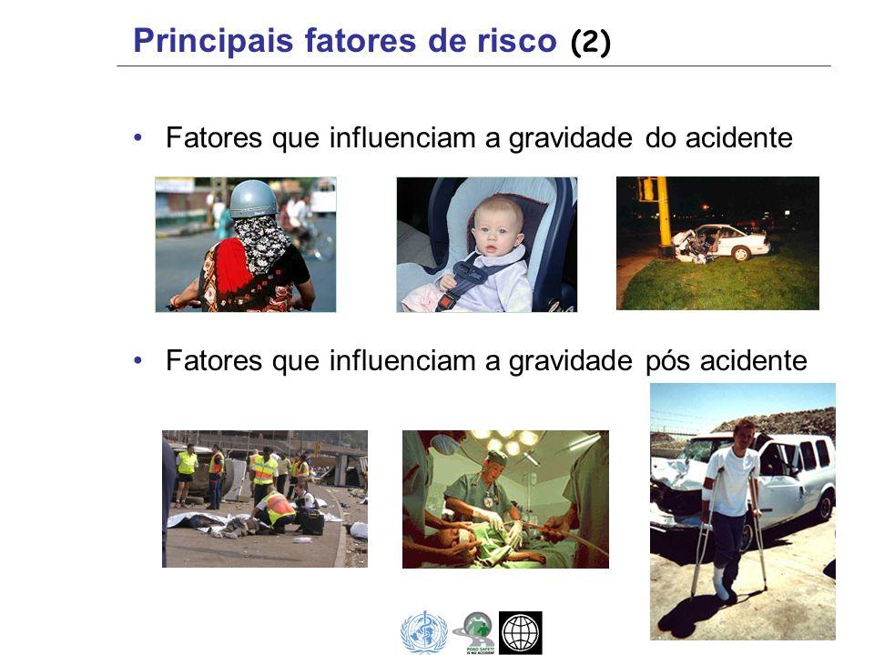 Fatores que influenciam a gravidade do acidente Fatores que influenciam a gravidade pós acidente Principais fatores de risco (2)