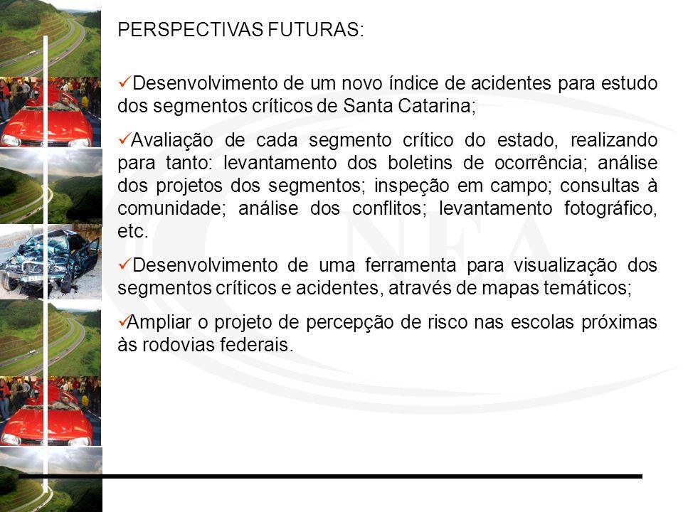 PERSPECTIVAS FUTURAS: Desenvolvimento de um novo índice de acidentes para estudo dos segmentos críticos de Santa Catarina; Avaliação de cada segmento