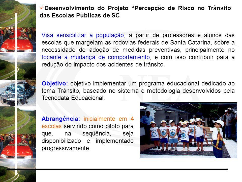 Desenvolvimento do Projeto Percepção de Risco no Trânsito das Escolas Públicas de SC Visa sensibilizar a população, a partir de professores e alunos d