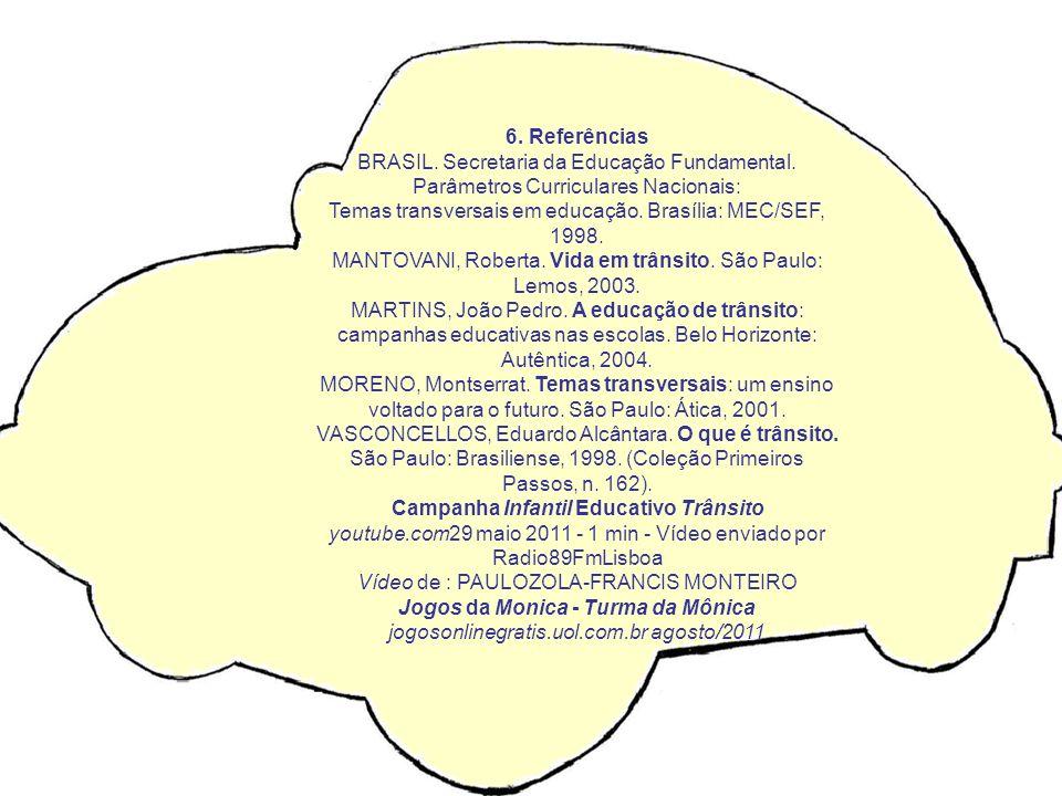 6. Referências BRASIL. Secretaria da Educação Fundamental. Parâmetros Curriculares Nacionais: Temas transversais em educação. Brasília: MEC/SEF, 1998.