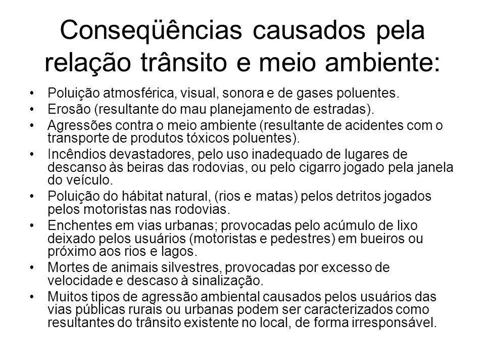 Conseqüências causados pela relação trânsito e meio ambiente: Poluição atmosférica, visual, sonora e de gases poluentes. Erosão (resultante do mau pla