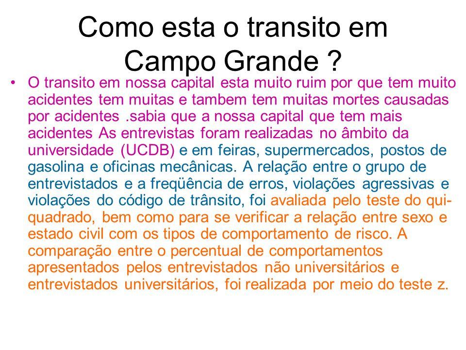 Como esta o transito em Campo Grande ? O transito em nossa capital esta muito ruim por que tem muito acidentes tem muitas e tambem tem muitas mortes c
