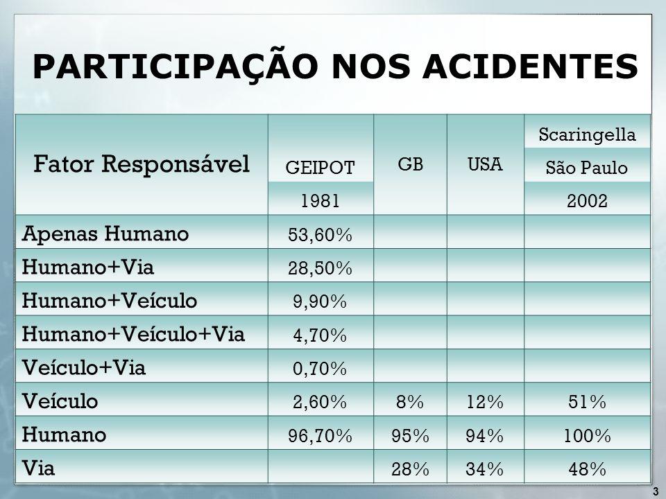 PARTICIPAÇÃO NOS ACIDENTES Fator Responsável GEIPOT GBUSA Scaringella São Paulo 19812002 Apenas Humano 53,60% Humano+Via 28,50% Humano+Veículo 9,90% H