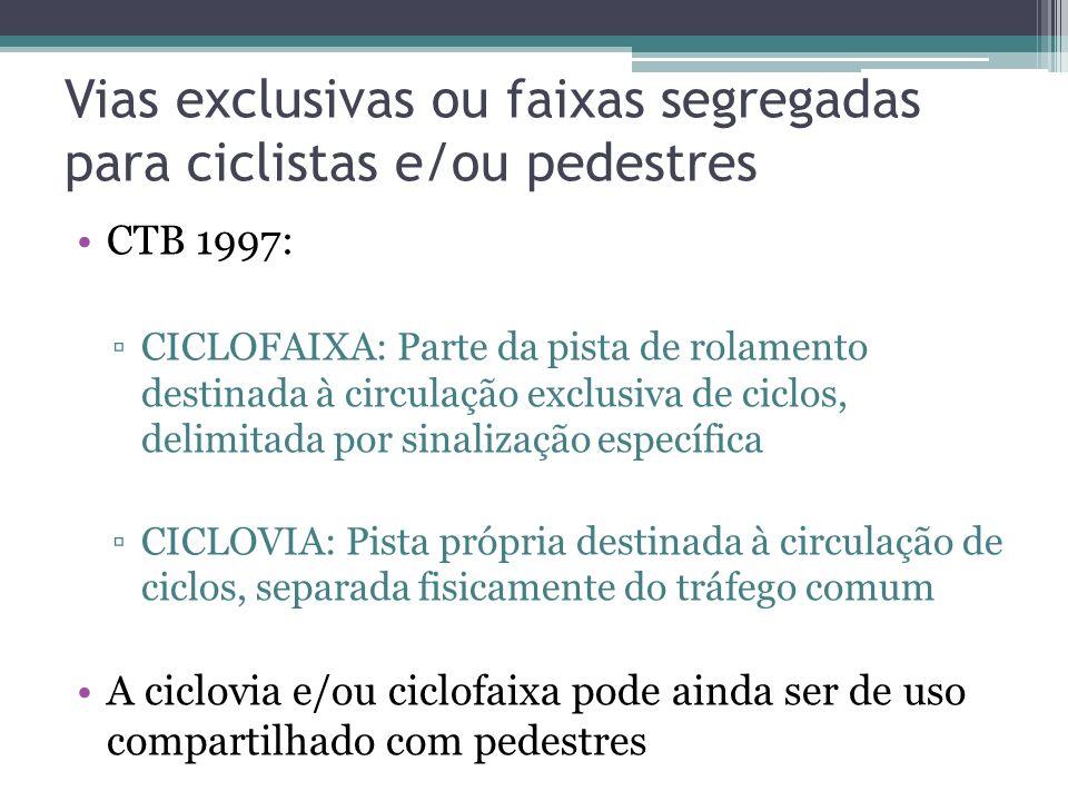 Segregação e Canalização dos fluxos de pedestres Calçada, usual nas áreas urbanizadas e obras de arte CTB 1997: parte da via, normalmente segregada e