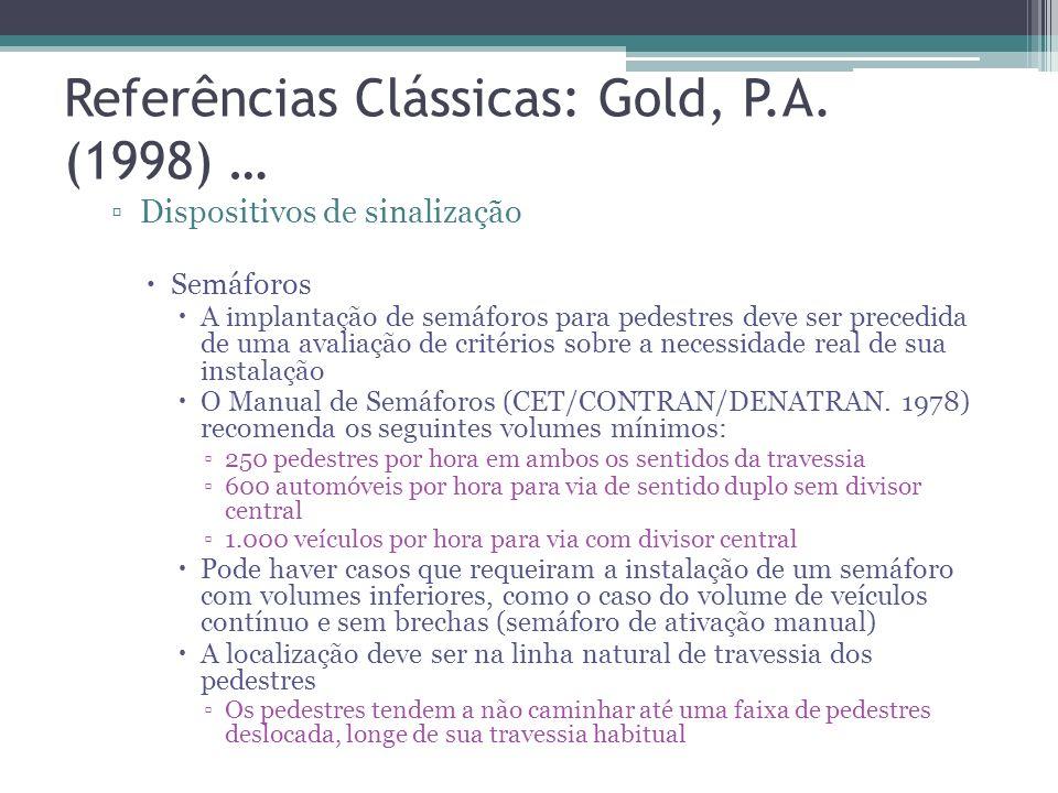 Referências Clássicas: Gold, P.A. (1998) … Dispositivos em vias de uso compartilhado Canteiro: Vias que possuam travessia dispersa ao longo de seu per