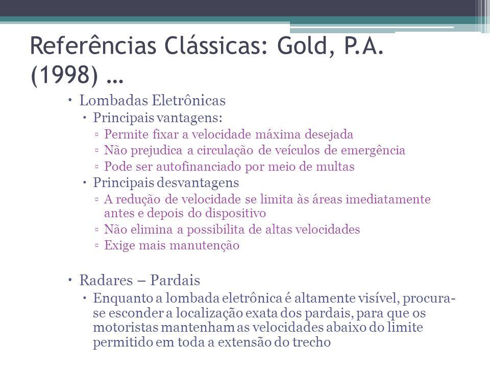 Referências Clássicas: Gold, P.A. (1998) … Lombadas Entre os dispositivos redutores de velocidade, as lombadas se revelam as mais eficazes, se implant