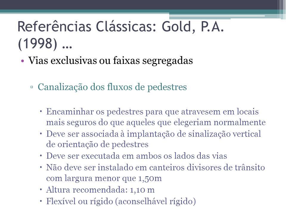 Referências Clássicas: Gold, P.A. (1998) … Lombadas Eletrônicas Principais vantagens: Permite fixar a velocidade máxima desejada Não prejudica a circu