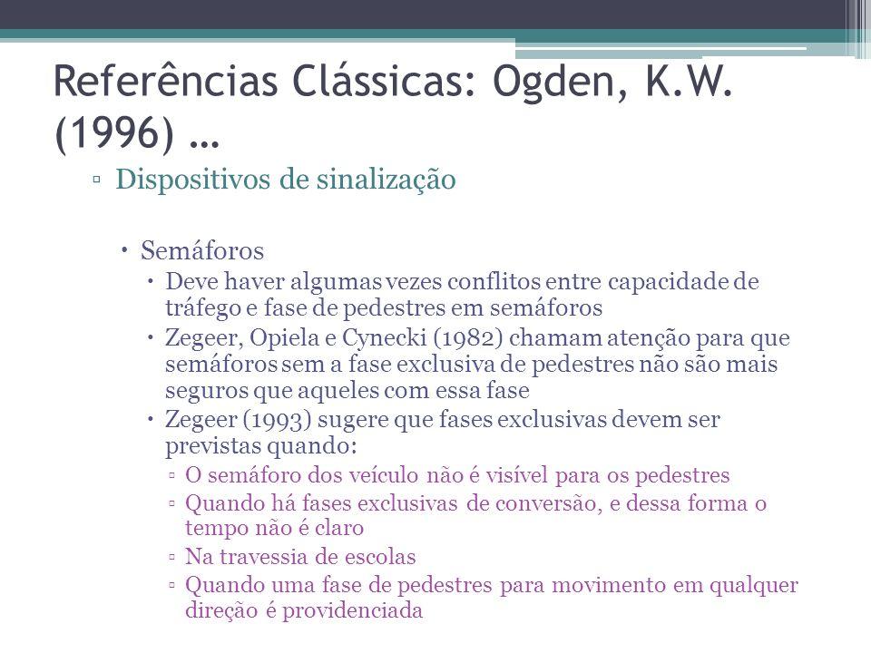 Referências Clássicas: Ogden, K.W. (1996) … Dispositivos em vias de uso compartilhado Ilhas de refúgio: Esse dispositivo é apropriado onde travessias