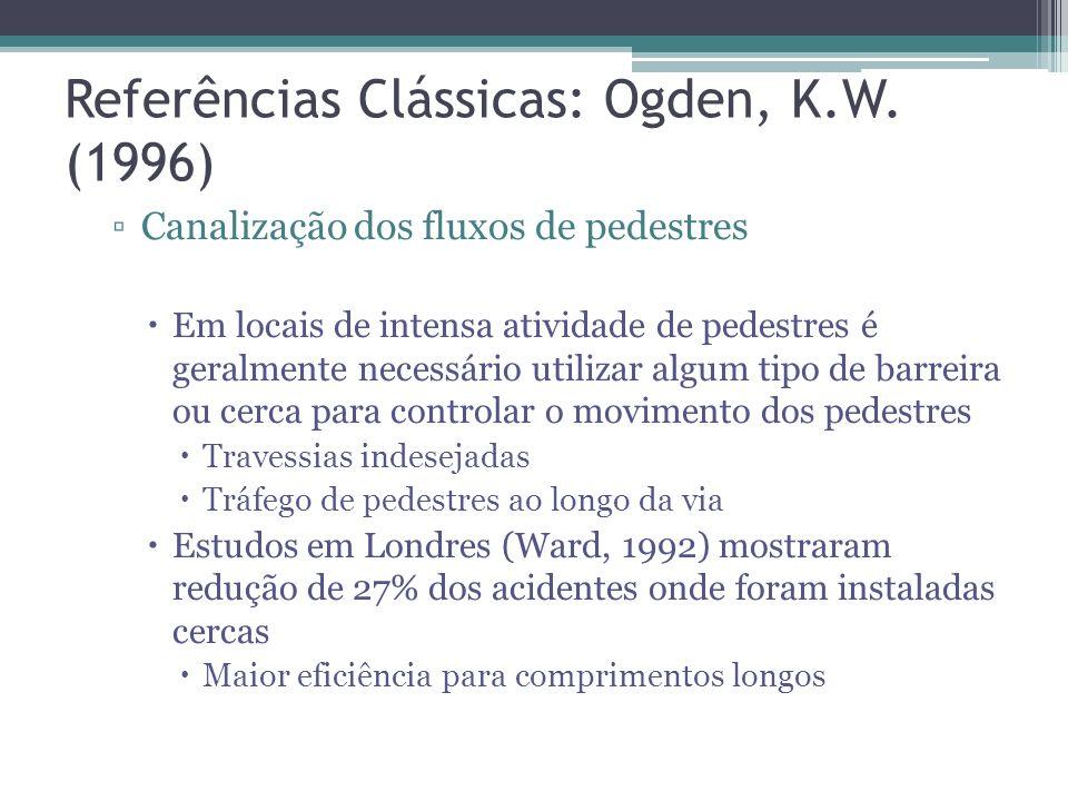 Referências Clássicas: Ogden, K.W. (1996) … Vias exclusivas ou faixas segregadas Calçadas Esse tipo de dispositivo de segurança é geralmente desejável