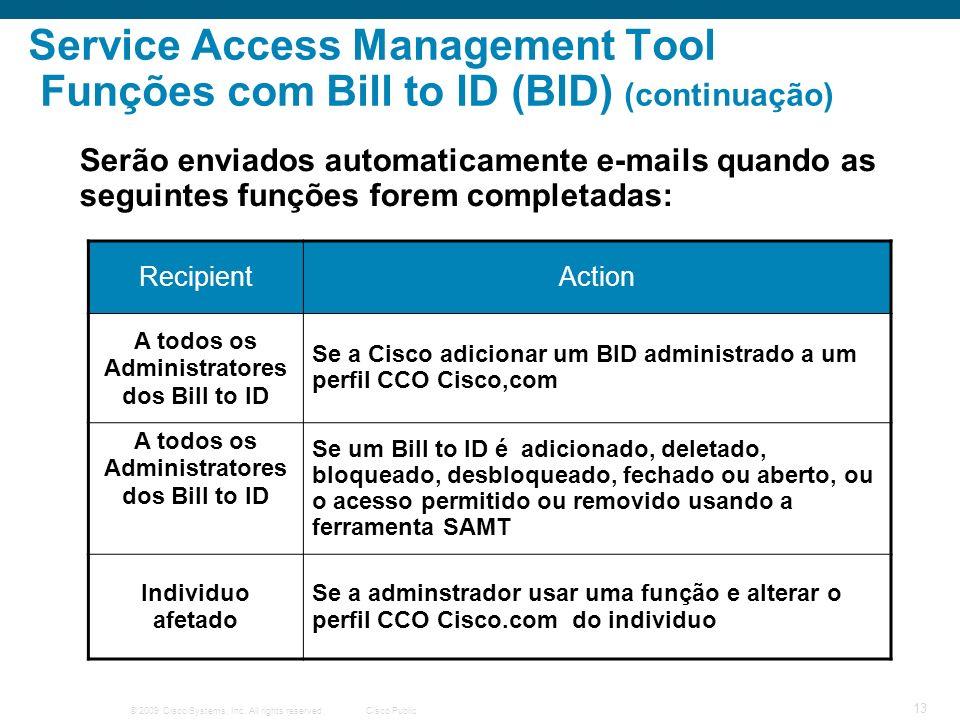 © 2009 Cisco Systems, Inc. All rights reserved.Cisco Public 13 Service Access Management Tool Funções com Bill to ID (BID) (continuação) Serão enviado
