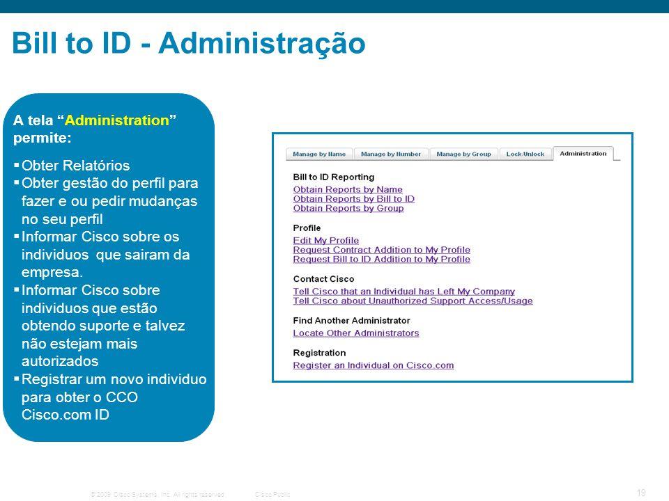 © 2009 Cisco Systems, Inc. All rights reserved.Cisco Public 19 Bill to ID - Administração Obter Relatórios Obter gestão do perfil para fazer e ou pedi