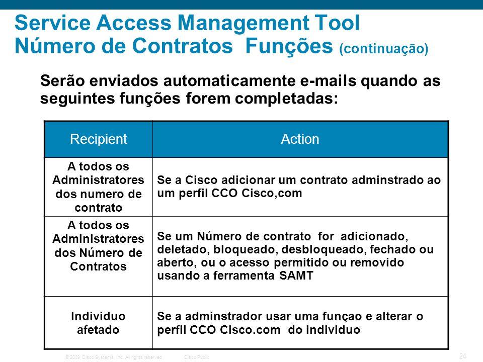 © 2009 Cisco Systems, Inc. All rights reserved.Cisco Public 24 Service Access Management Tool Número de Contratos Funções (continuação) Serão enviados