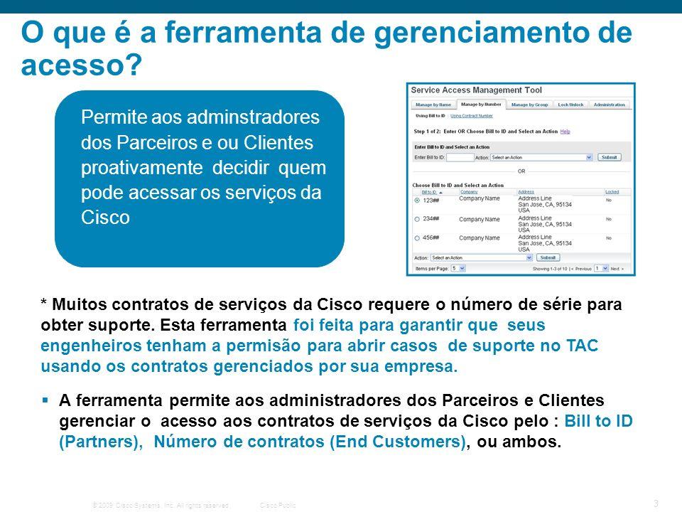 © 2009 Cisco Systems, Inc. All rights reserved.Cisco Public 3 O que é a ferramenta de gerenciamento de acesso? Permite aos adminstradores dos Parceiro