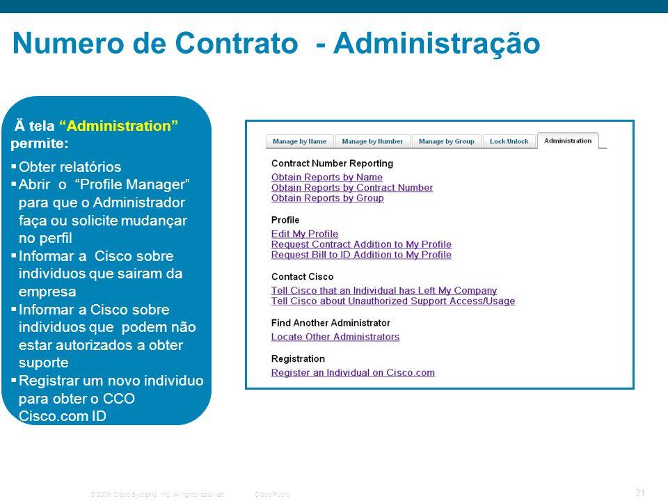 © 2009 Cisco Systems, Inc. All rights reserved.Cisco Public 31 Numero de Contrato - Administração Obter relatórios Abrir o Profile Manager para que o