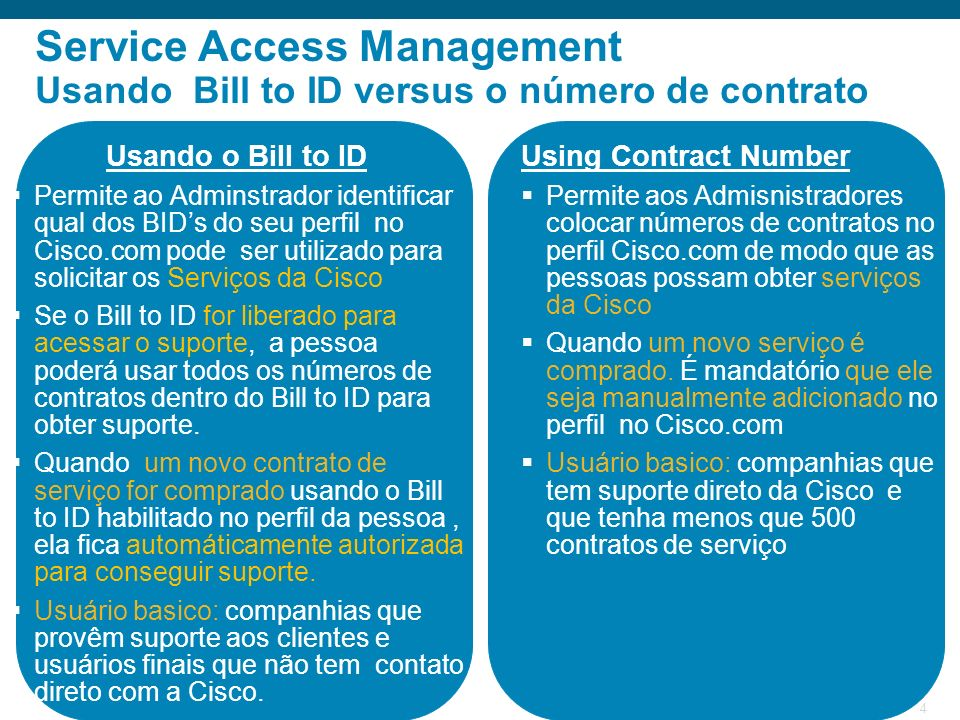 © 2009 Cisco Systems, Inc. All rights reserved.Cisco Public 4 Service Access Management Usando Bill to ID versus o número de contrato Usando o Bill to
