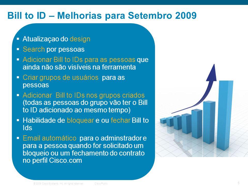 © 2009 Cisco Systems, Inc. All rights reserved.Cisco Public 5 Bill to ID – Melhorias para Setembro 2009 Atualizaçao do design Search por pessoas Adici