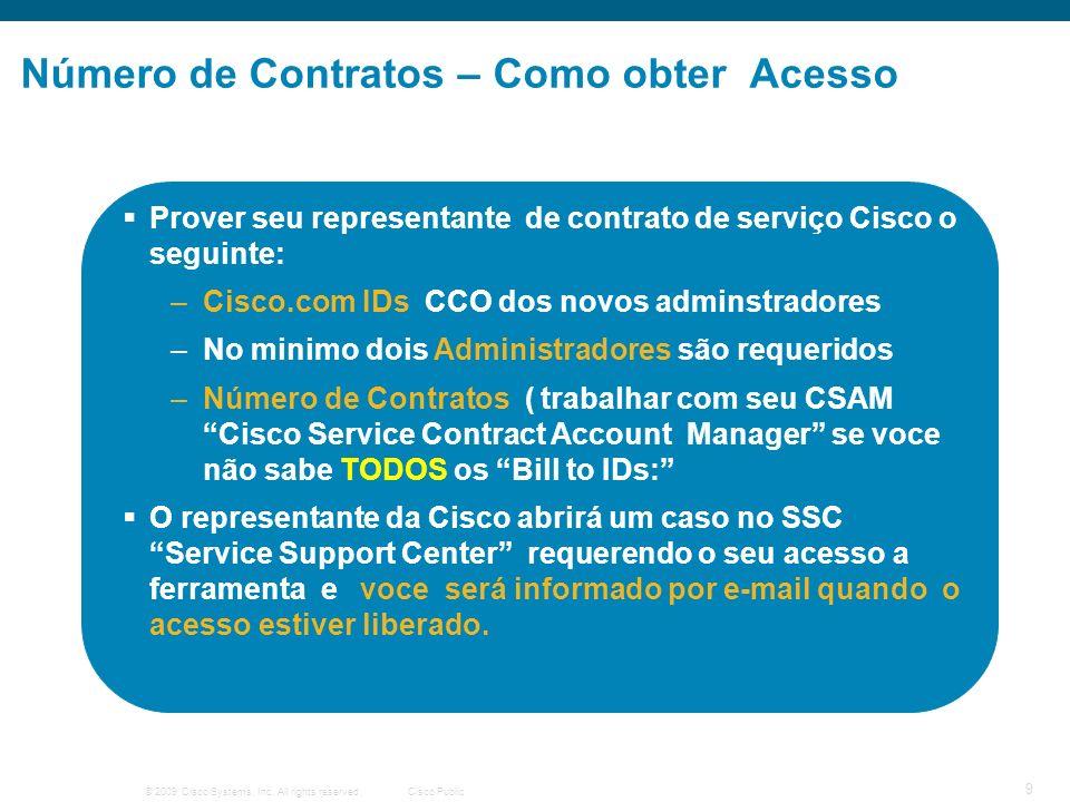 © 2009 Cisco Systems, Inc. All rights reserved.Cisco Public 9 Número de Contratos – Como obter Acesso Prover seu representante de contrato de serviço