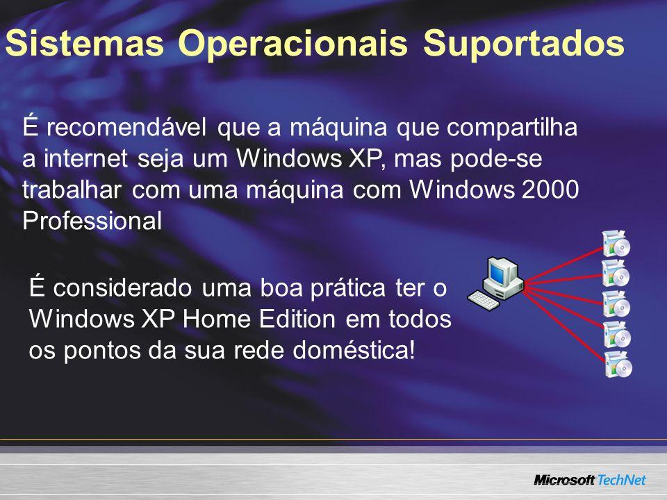 Sistemas Operacionais Suportados É recomendável que a máquina que compartilha a internet seja um Windows XP, mas pode-se trabalhar com uma máquina com