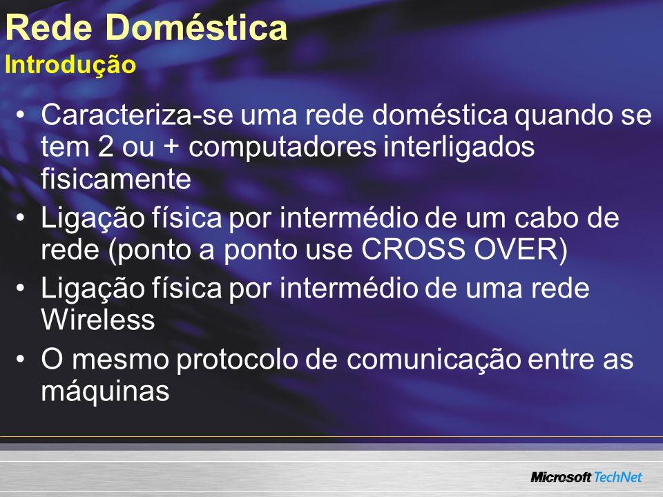 Rede Doméstica Introdução Caracteriza-se uma rede doméstica quando se tem 2 ou + computadores interligados fisicamente Ligação física por intermédio d