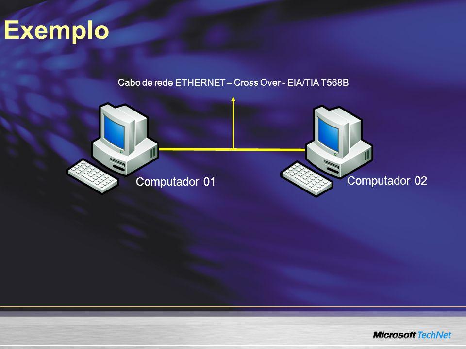 Exemplo Computador 01 Computador 02 Cabo de rede ETHERNET – Cross Over - EIA/TIA T568B