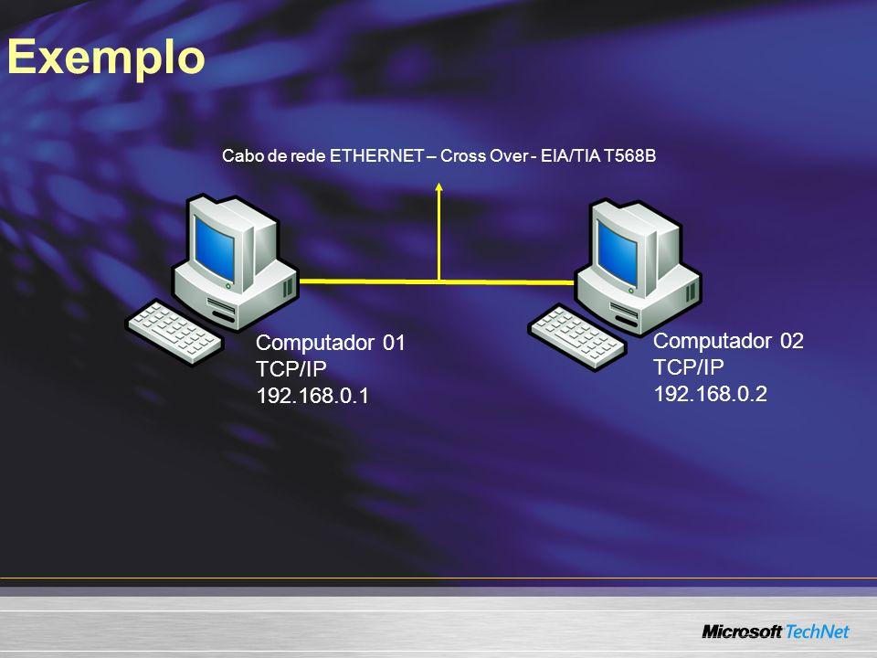 Exemplo Computador 01 TCP/IP 192.168.0.1 Computador 02 TCP/IP 192.168.0.2 Cabo de rede ETHERNET – Cross Over - EIA/TIA T568B
