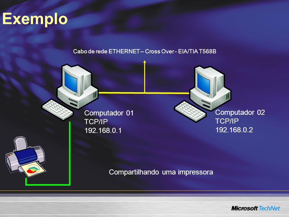 Exemplo Computador 01 TCP/IP 192.168.0.1 Computador 02 TCP/IP 192.168.0.2 Cabo de rede ETHERNET – Cross Over - EIA/TIA T568B Compartilhando uma impres