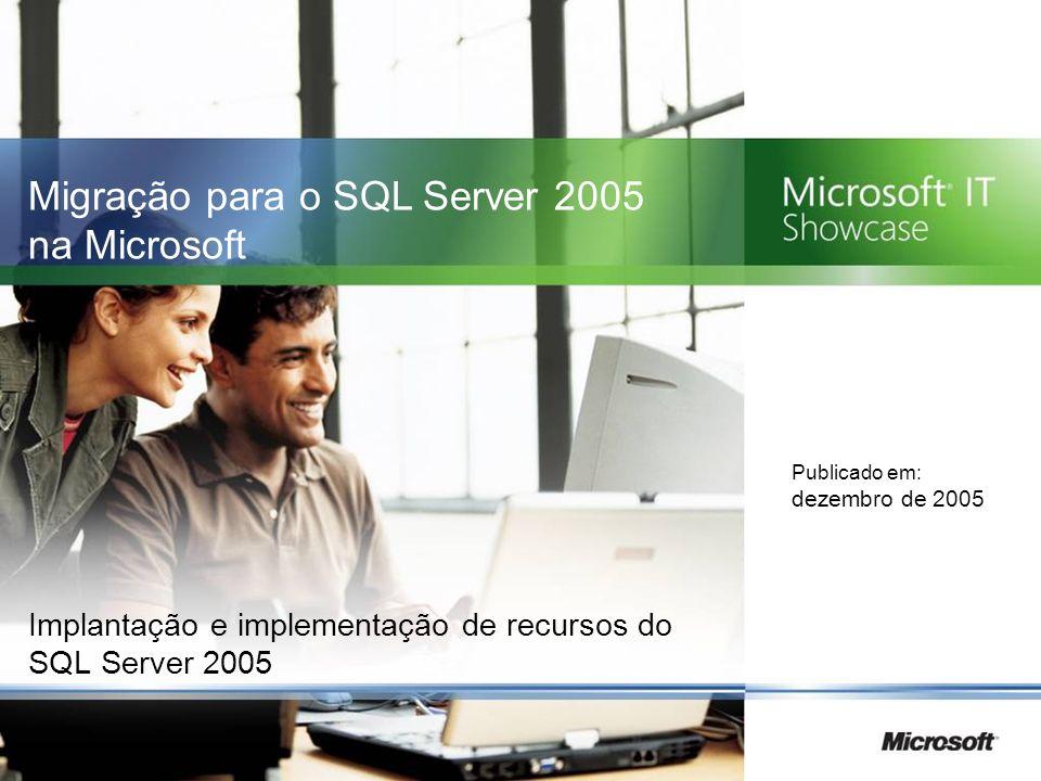 Implantação e implementação de recursos do SQL Server 2005 Publicado em: dezembro de 2005 Migração para o SQL Server 2005 na Microsoft