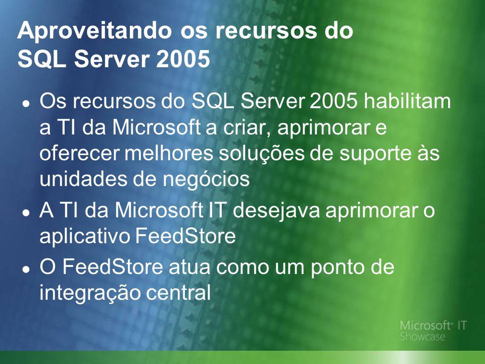 Aproveitando os recursos do SQL Server 2005 Os recursos do SQL Server 2005 habilitam a TI da Microsoft a criar, aprimorar e oferecer melhores soluções de suporte às unidades de negócios A TI da Microsoft IT desejava aprimorar o aplicativo FeedStore O FeedStore atua como um ponto de integração central