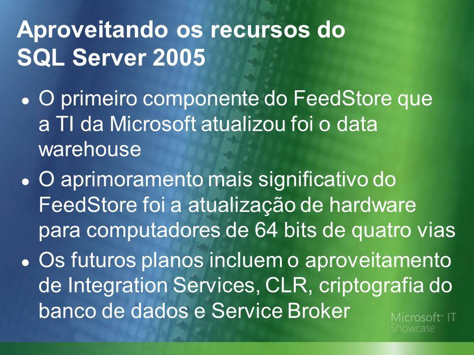 Aproveitando os recursos do SQL Server 2005 O primeiro componente do FeedStore que a TI da Microsoft atualizou foi o data warehouse O aprimoramento mais significativo do FeedStore foi a atualização de hardware para computadores de 64 bits de quatro vias Os futuros planos incluem o aproveitamento de Integration Services, CLR, criptografia do banco de dados e Service Broker