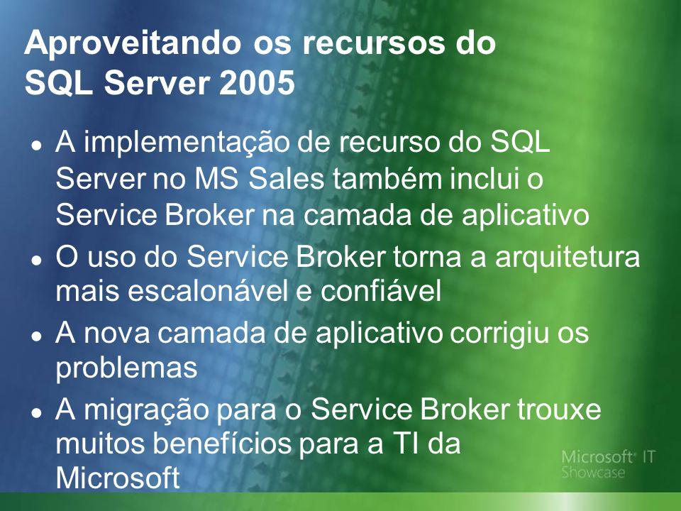 Aproveitando os recursos do SQL Server 2005 A implementação de recurso do SQL Server no MS Sales também inclui o Service Broker na camada de aplicativo O uso do Service Broker torna a arquitetura mais escalonável e confiável A nova camada de aplicativo corrigiu os problemas A migração para o Service Broker trouxe muitos benefícios para a TI da Microsoft
