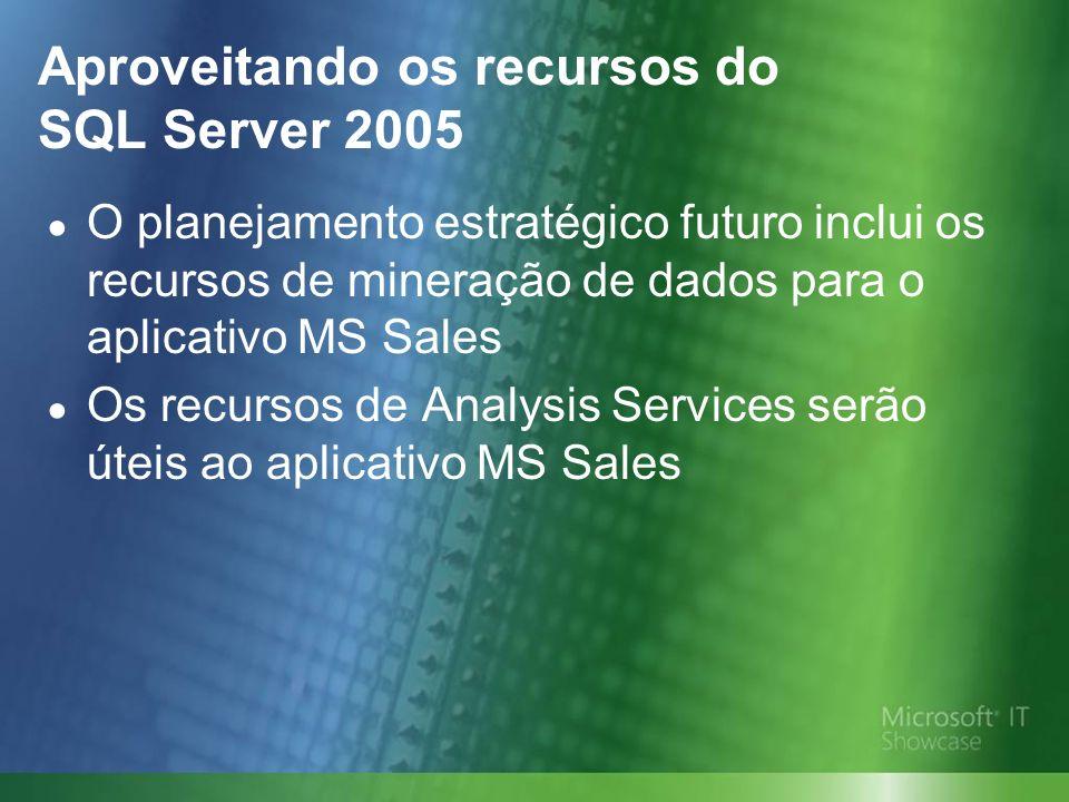 Aproveitando os recursos do SQL Server 2005 O planejamento estratégico futuro inclui os recursos de mineração de dados para o aplicativo MS Sales Os recursos de Analysis Services serão úteis ao aplicativo MS Sales