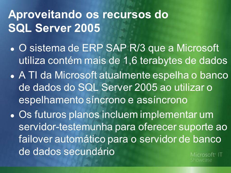 Aproveitando os recursos do SQL Server 2005 O sistema de ERP SAP R/3 que a Microsoft utiliza contém mais de 1,6 terabytes de dados A TI da Microsoft atualmente espelha o banco de dados do SQL Server 2005 ao utilizar o espelhamento síncrono e assíncrono Os futuros planos incluem implementar um servidor-testemunha para oferecer suporte ao failover automático para o servidor de banco de dados secundário