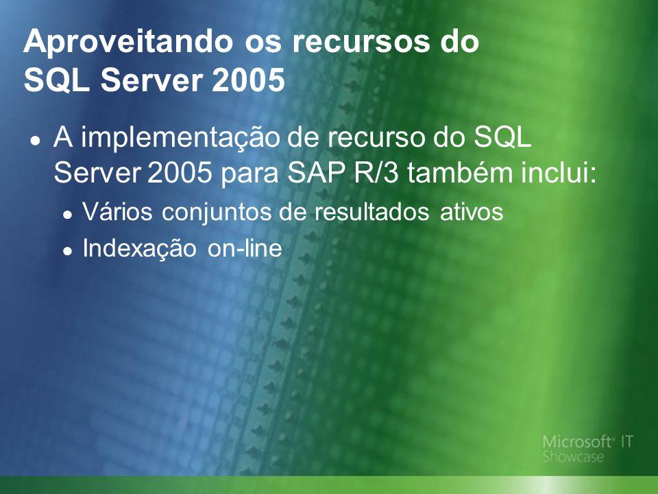 A implementação de recurso do SQL Server 2005 para SAP R/3 também inclui: Vários conjuntos de resultados ativos Indexação on-line