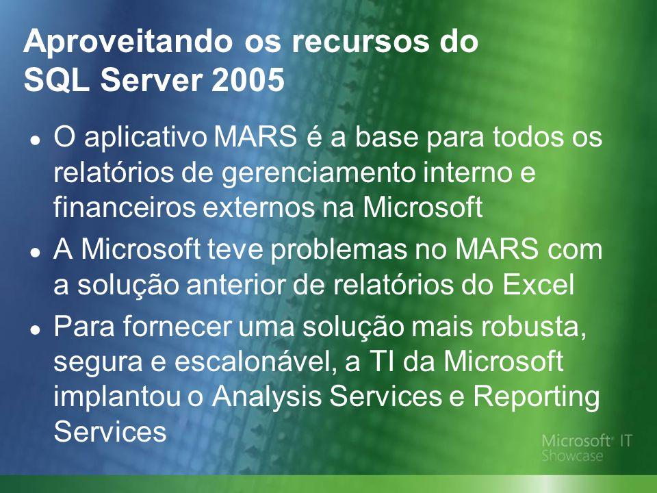 Aproveitando os recursos do SQL Server 2005 O aplicativo MARS é a base para todos os relatórios de gerenciamento interno e financeiros externos na Microsoft A Microsoft teve problemas no MARS com a solução anterior de relatórios do Excel Para fornecer uma solução mais robusta, segura e escalonável, a TI da Microsoft implantou o Analysis Services e Reporting Services