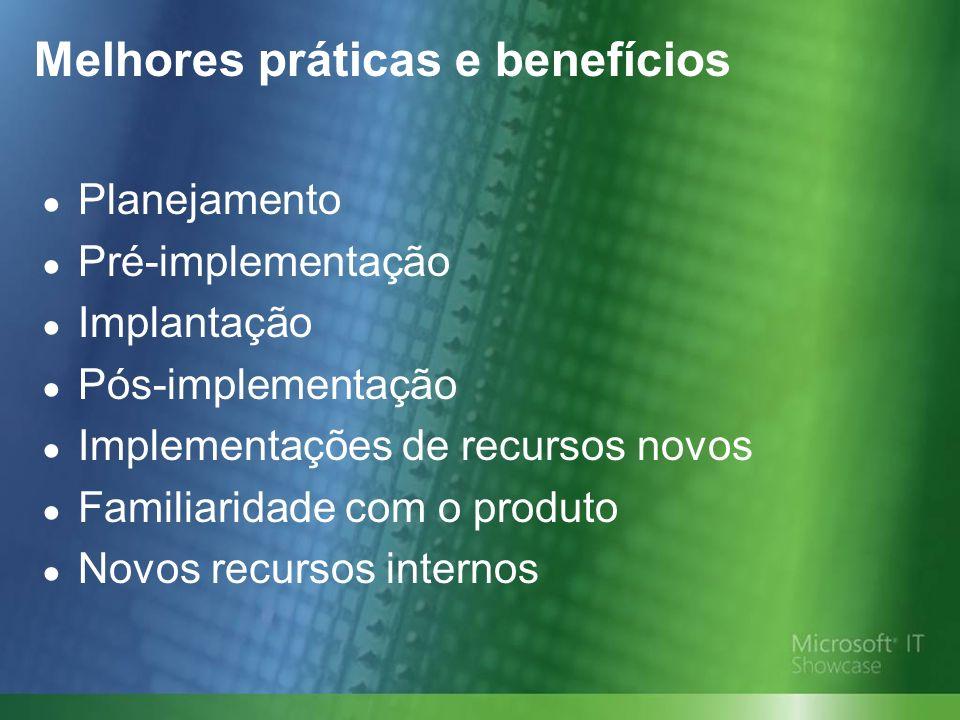 Melhores práticas e benefícios Planejamento Pré-implementação Implantação Pós-implementação Implementações de recursos novos Familiaridade com o produto Novos recursos internos
