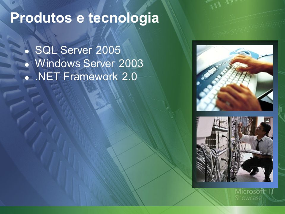 Produtos e tecnologia SQL Server 2005 Windows Server 2003.NET Framework 2.0