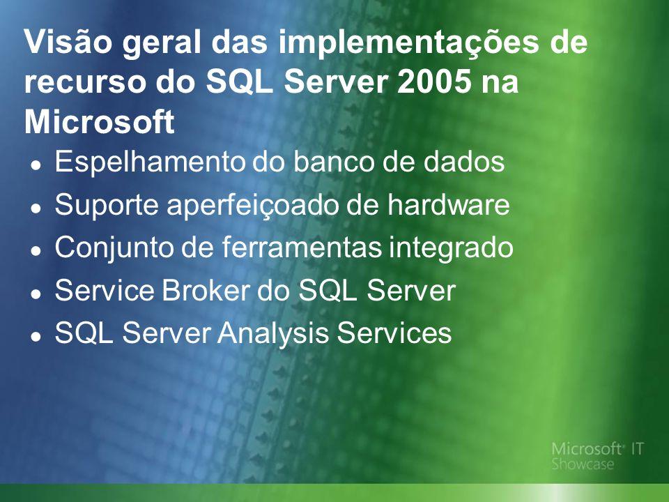 Visão geral das implementações de recurso do SQL Server 2005 na Microsoft Espelhamento do banco de dados Suporte aperfeiçoado de hardware Conjunto de ferramentas integrado Service Broker do SQL Server SQL Server Analysis Services