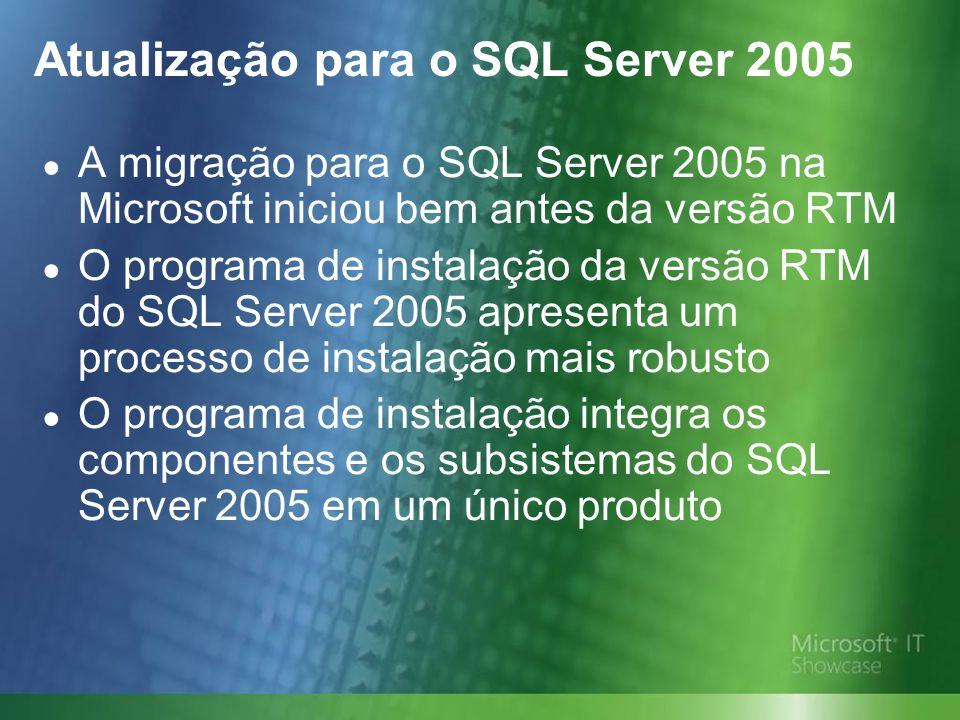 Atualização para o SQL Server 2005 A migração para o SQL Server 2005 na Microsoft iniciou bem antes da versão RTM O programa de instalação da versão RTM do SQL Server 2005 apresenta um processo de instalação mais robusto O programa de instalação integra os componentes e os subsistemas do SQL Server 2005 em um único produto