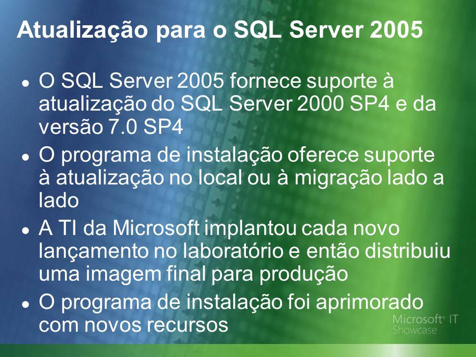 Atualização para o SQL Server 2005 O SQL Server 2005 fornece suporte à atualização do SQL Server 2000 SP4 e da versão 7.0 SP4 O programa de instalação oferece suporte à atualização no local ou à migração lado a lado A TI da Microsoft implantou cada novo lançamento no laboratório e então distribuiu uma imagem final para produção O programa de instalação foi aprimorado com novos recursos