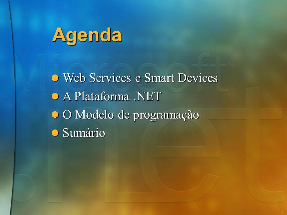 2 Agenda Web Services e Smart Devices Web Services e Smart Devices A Plataforma.NET A Plataforma.NET O Modelo de programação O Modelo de programação Sumário Sumário