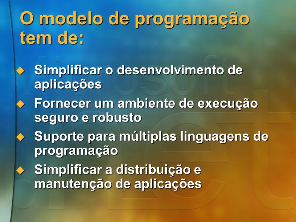 19 Agenda Web Services e Smart Devices Web Services e Smart Devices A plataforma.NET A plataforma.NET O Modelo de Programação O Modelo de Programação