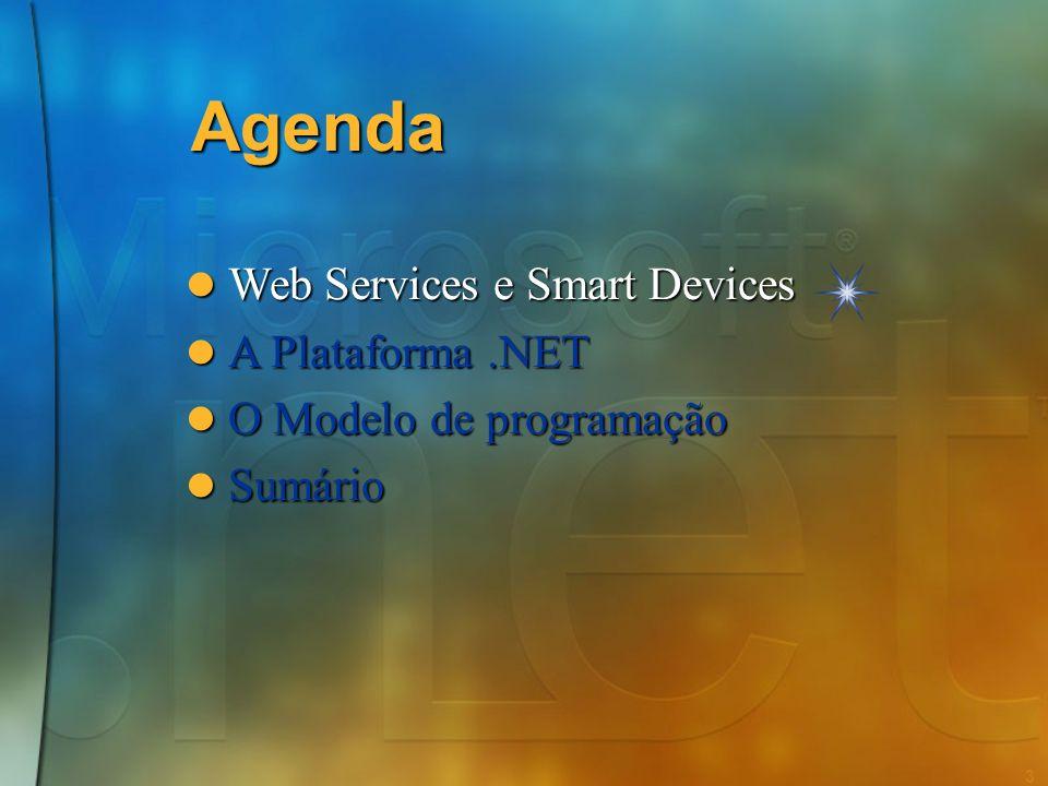 2 Agenda Web Services e Smart Devices Web Services e Smart Devices A Plataforma.NET A Plataforma.NET O Modelo de programação O Modelo de programação S