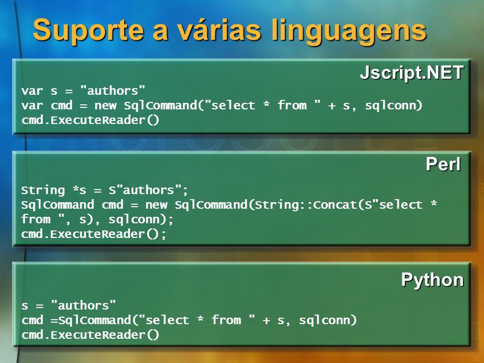 36 Suporte a várias linguagens J# String s =