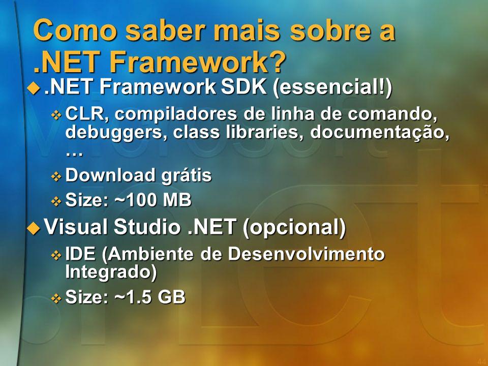 43 Standardização do.NET CLI e C# standardizados pela ECMA CLI e C# standardizados pela ECMA Submissão conjunta com Intel e Hewlett-Packard Submissão