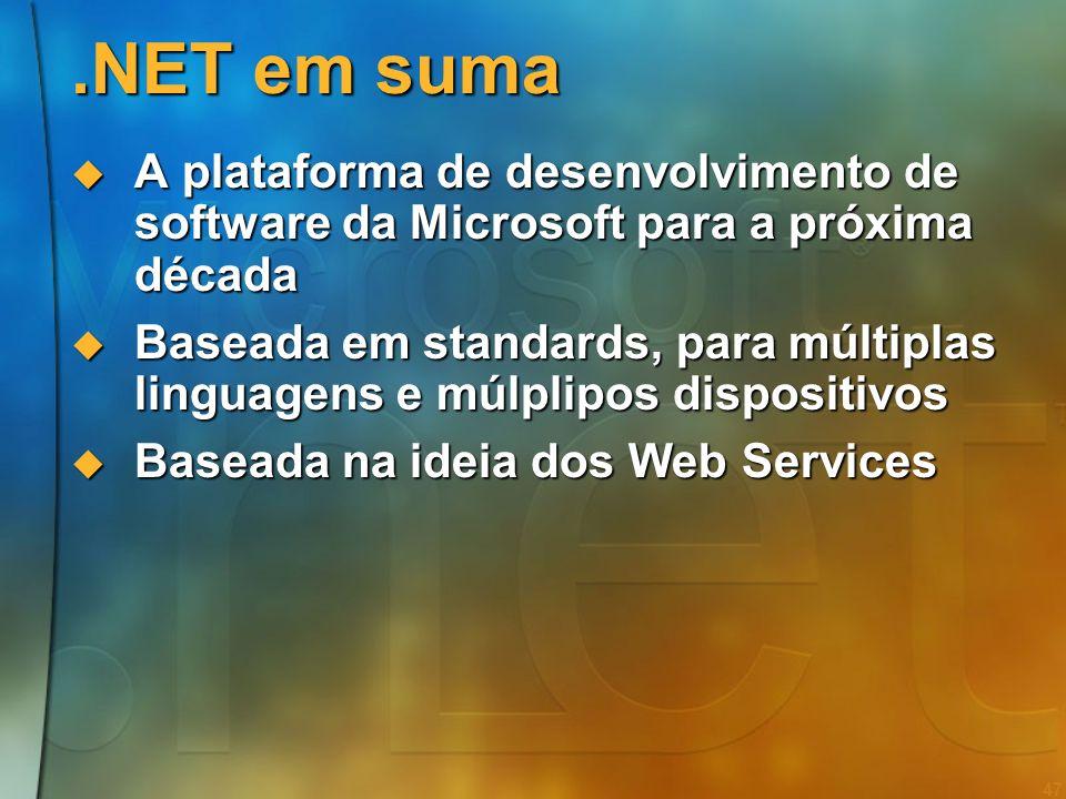 46 Agenda Web Services e Smart Devices Web Services e Smart Devices A plataforma.NET A plataforma.NET O Modelo de Programação O Modelo de Programação